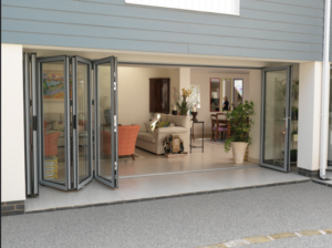 aluminium bifold doors open